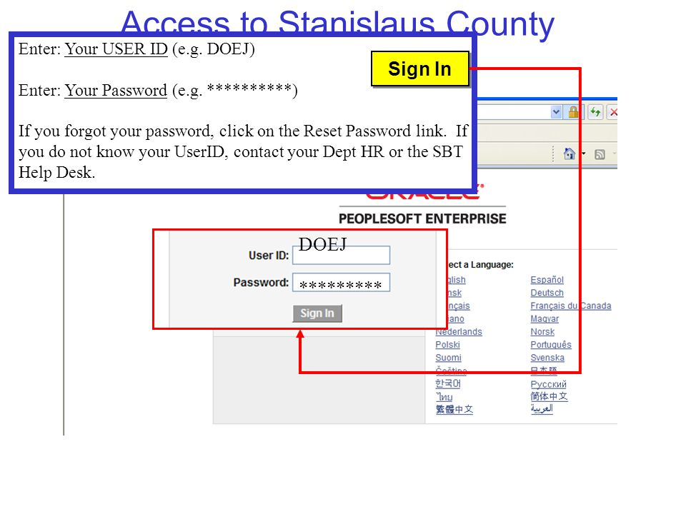 Access to Stanislaus County eBenefits DOEJ ********* Enter: Your USER ID (e.g.