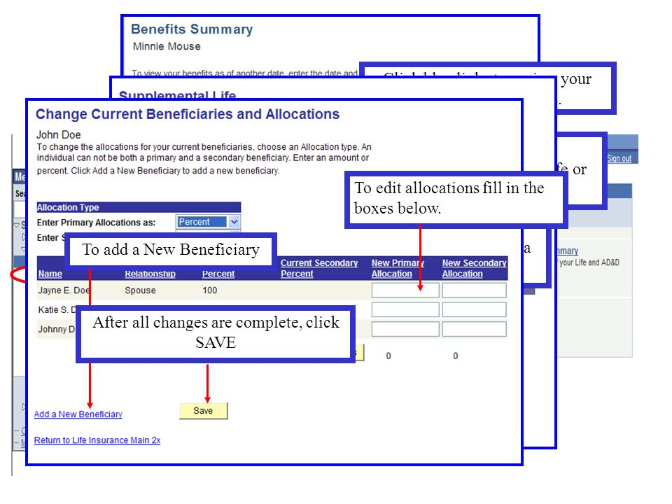 Benefits Summary and Beneficiaries Click: Benefits Summary Click blue links to review your current plan elections. To review/change your beneficiaries