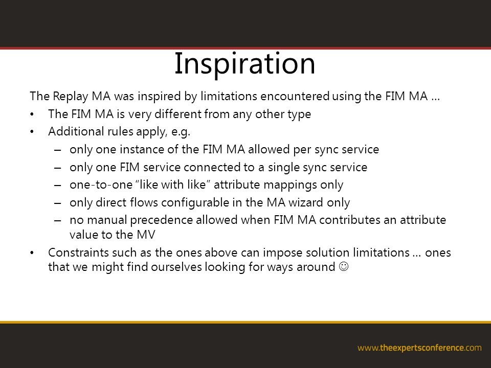 Inspiration The Replay MA was inspired by limitations encountered using the FIM MA … The FIM MA is very different from any other type Additional rules