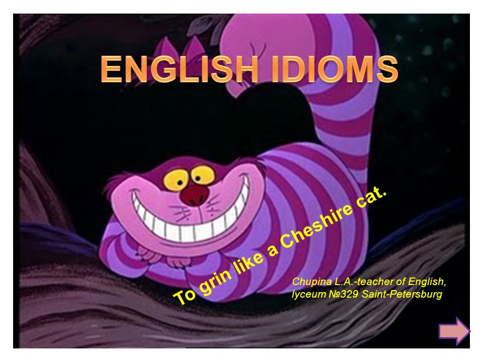 To grin like a Cheshire cat. Chupina L.A.-teacher of English, lyceum №329 Saint-Petersburg