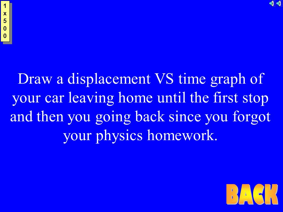 1x5001x500 1x5001x500 Draw a displacement VS time graph of your car leaving home until the first stop and then you going back since you forgot your physics homework.