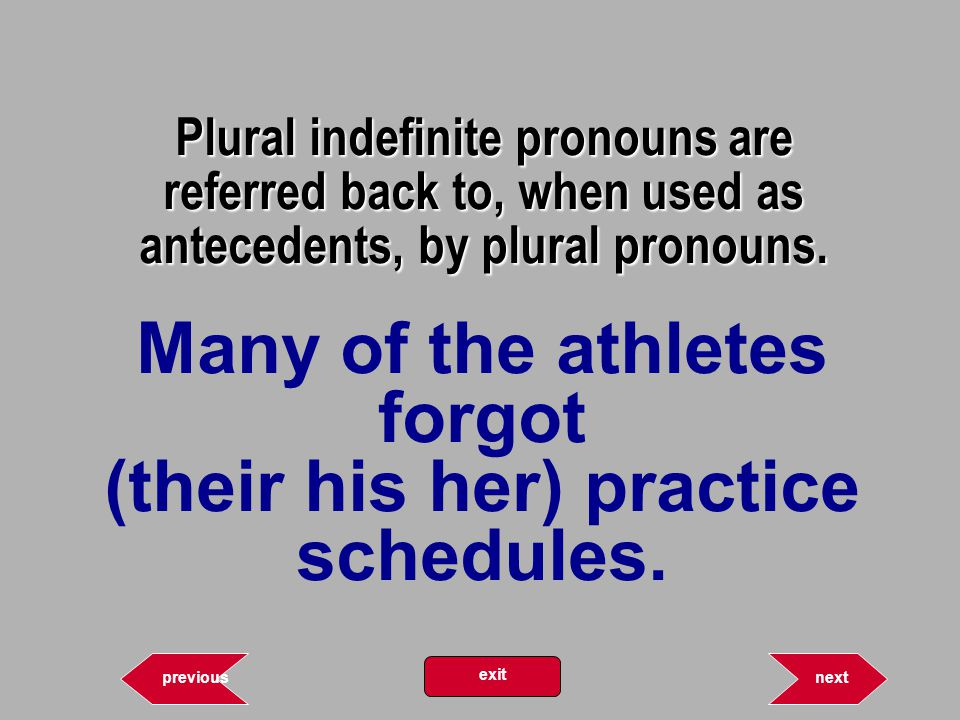 Plural indefinite pronouns are referred back to, when used as antecedents, by plural pronouns.