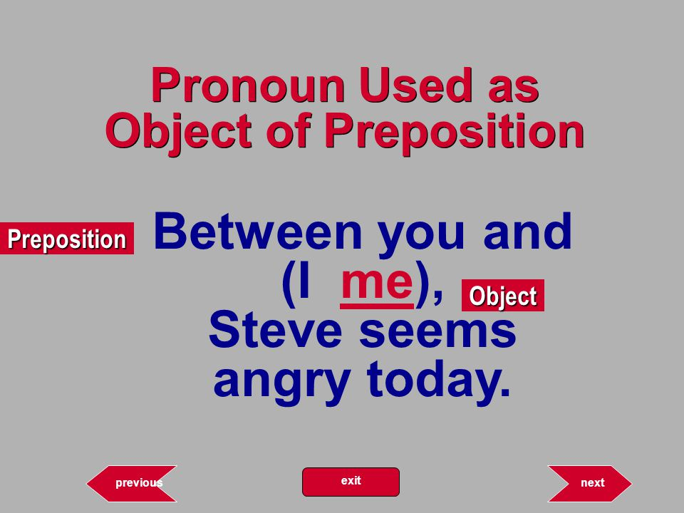 12.69 Pronoun Used as Object of Preposition Preposition Object nextprevious exit Between you and (I me), Steve seems angry today.