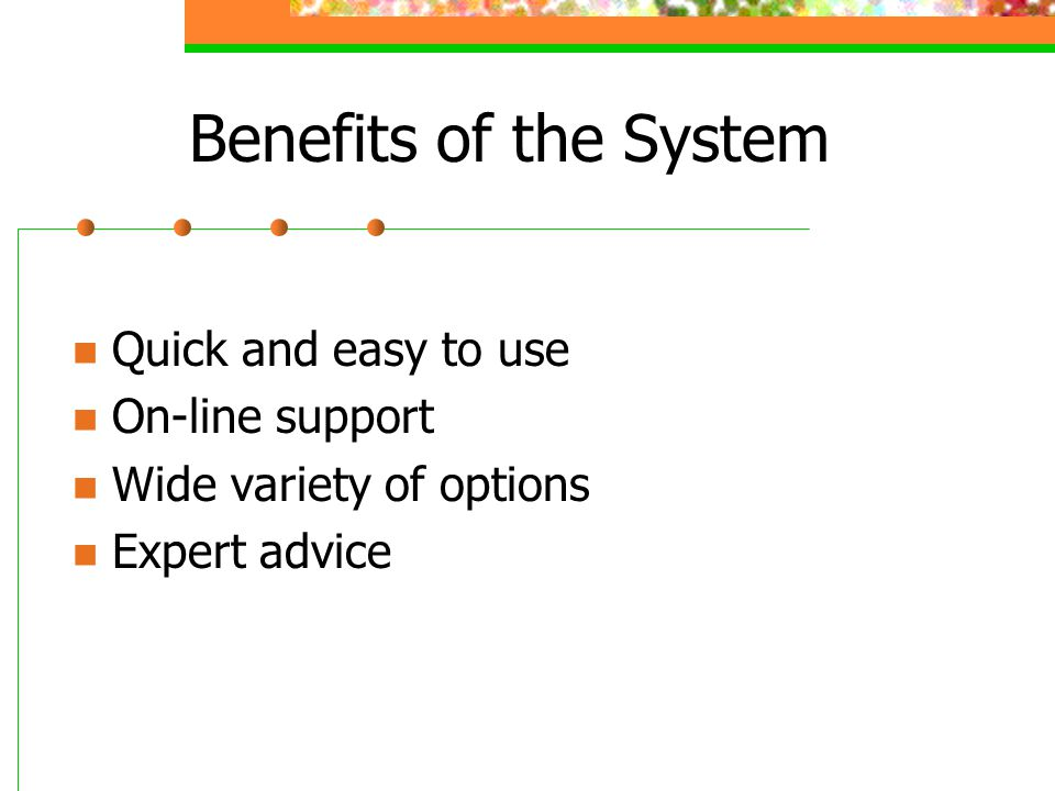 Benefits of the System Quick and easy to use On-line support Wide variety of options Expert advice