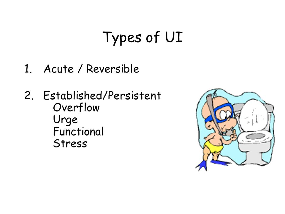 Causes of Acute/Reversible UI D Delirium I Infection A Atrophic Vaginitis/ Urethritis P Pharmaceuticals P Psychological causes E Excess fluid R Restricted mobility S Stool impaction (Resnick, 1992)