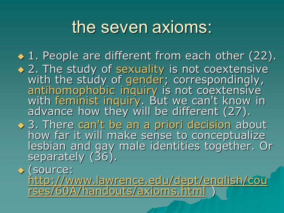 the seven axioms:  4.