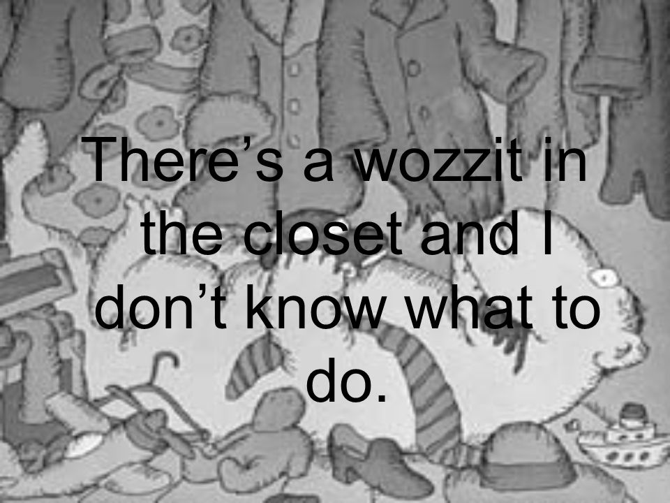 There's a wozzit in the closet and I don't know what to do.