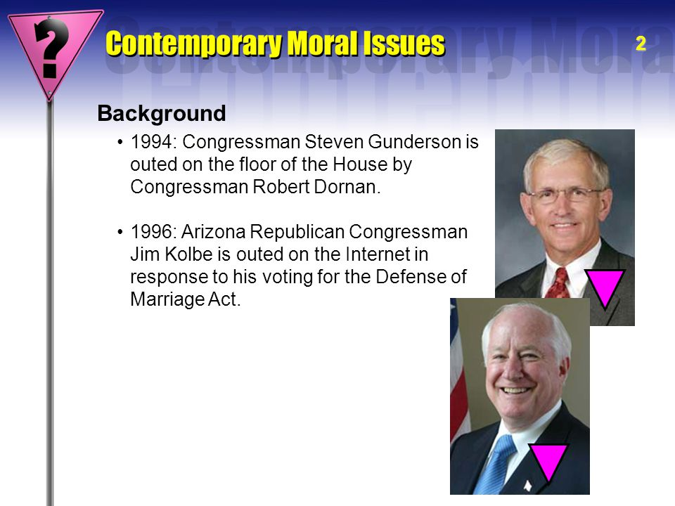 2 Background 1994: Congressman Steven Gunderson is outed on the floor of the House by Congressman Robert Dornan. 1996: Arizona Republican Congressman
