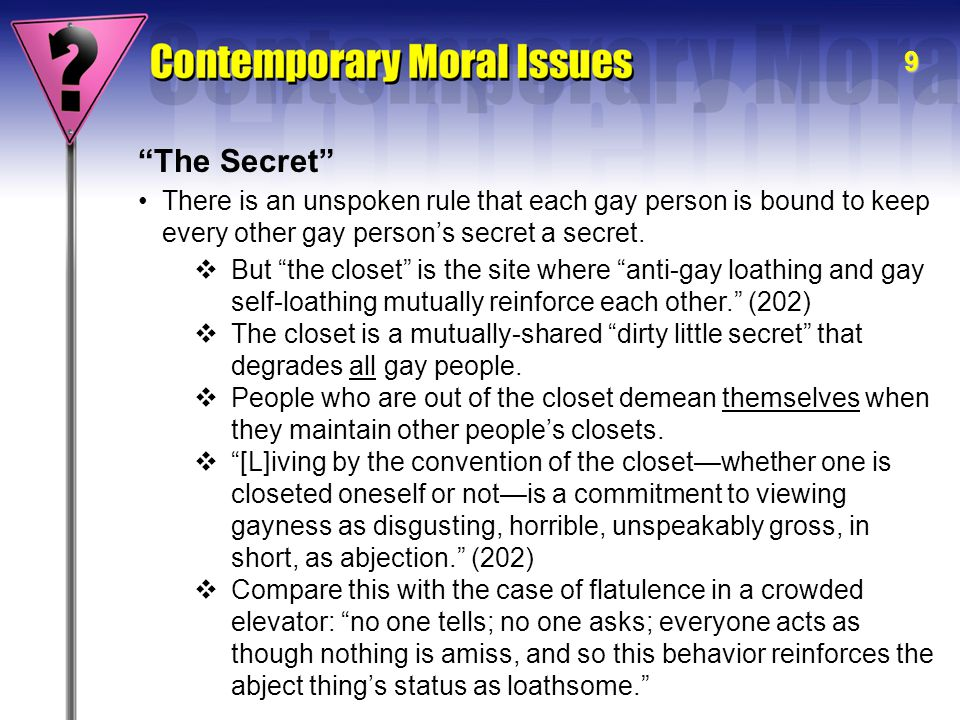 10 The Real Problem The real problem with the closet as a social institution is not that it promotes hypocrisy or that it causes unhappiness.