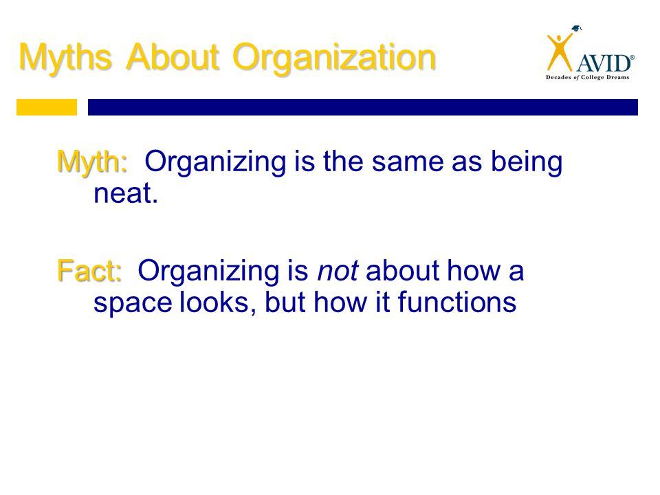 Myths About Organization Myth: Myth: Organizing is the same as being neat.