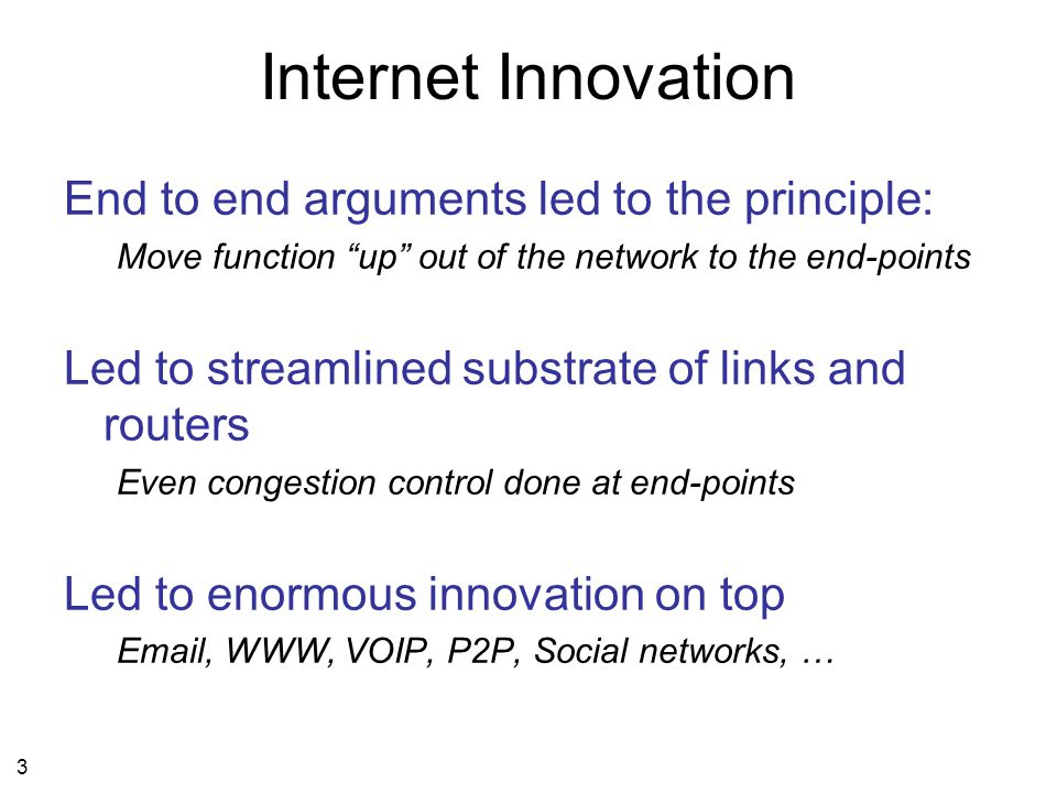 14 Innovation by changing the substrate IP Diverse link layers Diverse physical layers Diverse applications Diverse transport layers IP Diverse link layers Diverse physical layers Diverse applications Diverse transport layers Virtualization layer XYZ Proposed approach: OpenFlow … innovation from the bottom up This is the GENI approach: Innovation from the top down e.g.