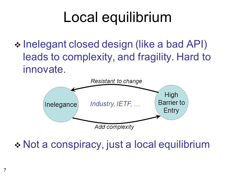 7 Local equilibrium  Inelegant closed design (like a bad API) leads to complexity, and fragility.
