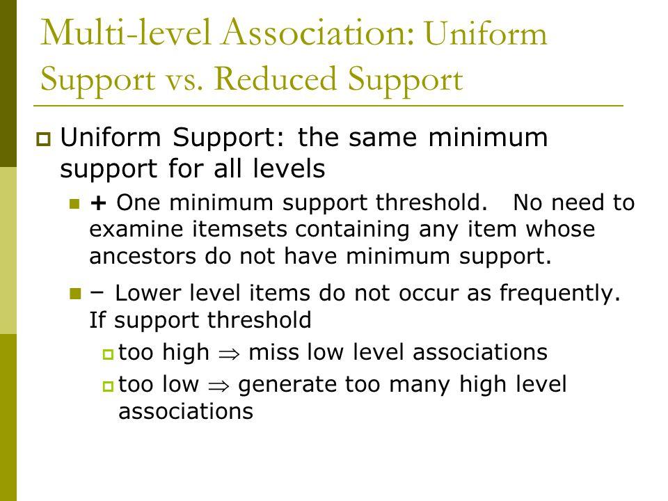 Multi-level Association: Uniform Support vs. Reduced Support  Uniform Support: the same minimum support for all levels + One minimum support threshol