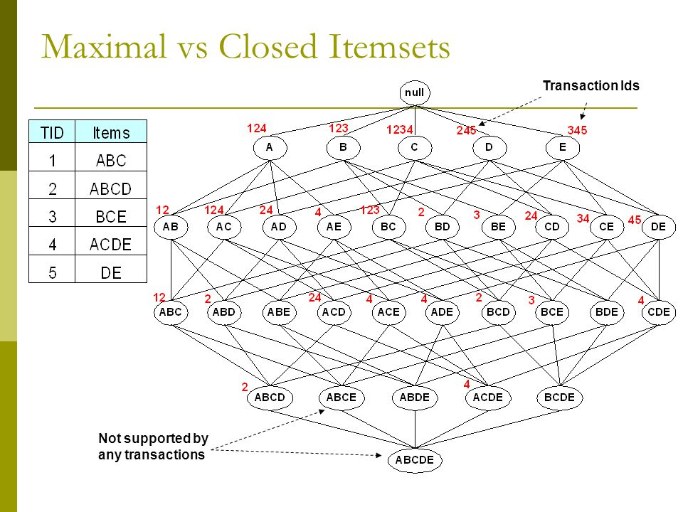 Maximal vs Closed Itemsets Transaction Ids Not supported by any transactions