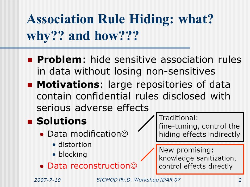 2007-7-10SIGMOD Ph.D. Workshop IDAR ' 072 Association Rule Hiding: what? why?? and how??? Problem: hide sensitive association rules in data without lo