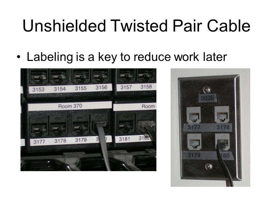 Unshielded Twisted Pair Cable Labeling is a key to reduce work later