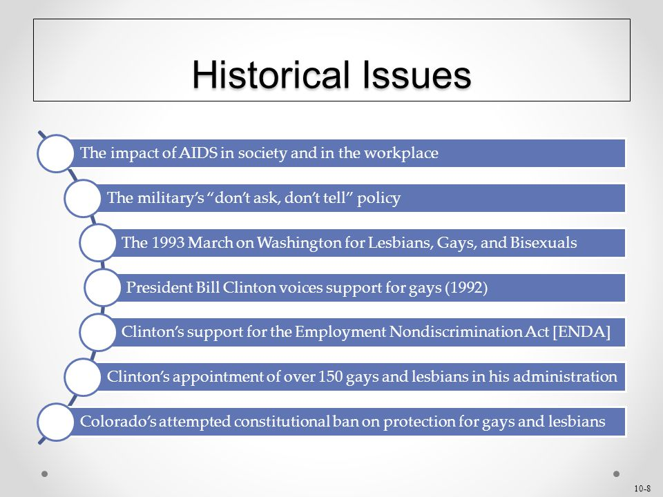 10-8 Historical Issues The impact of AIDS in society and in the workplace The military's don't ask, don't tell policy The 1993 March on Washington for Lesbians, Gays, and Bisexuals President Bill Clinton voices support for gays (1992) Clinton's support for the Employment Nondiscrimination Act [ENDA] Clinton's appointment of over 150 gays and lesbians in his administration Colorado's attempted constitutional ban on protection for gays and lesbians