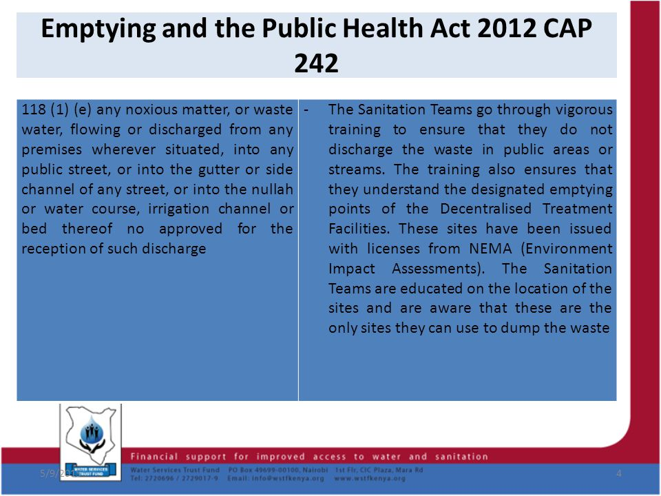 Emptying and the Public Health Act 2012 CAP 242 5/9/20154 118 (1) (e) any noxious matter, or waste water, flowing or discharged from any premises wher