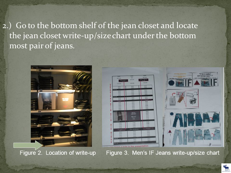 2.) Go to the bottom shelf of the jean closet and locate the jean closet write-up/size chart under the bottom most pair of jeans. Figure 2. Location o