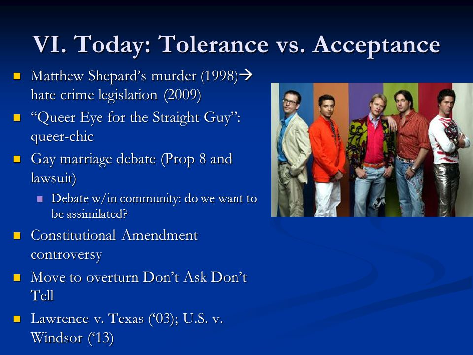 VI. Today: Tolerance vs.