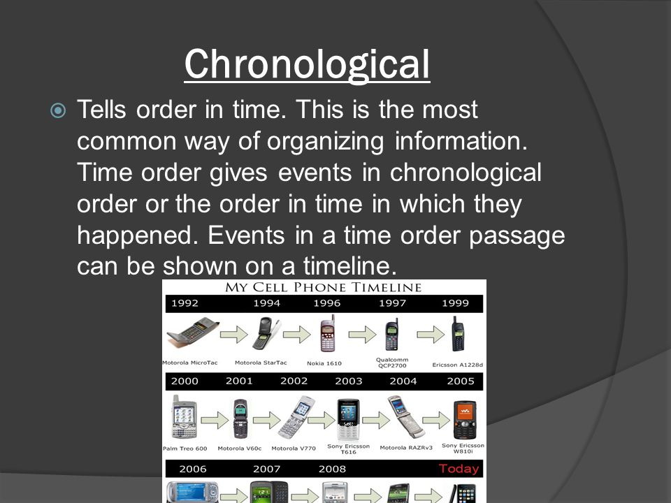 Chronological  Tells order in time. This is the most common way of organizing information.