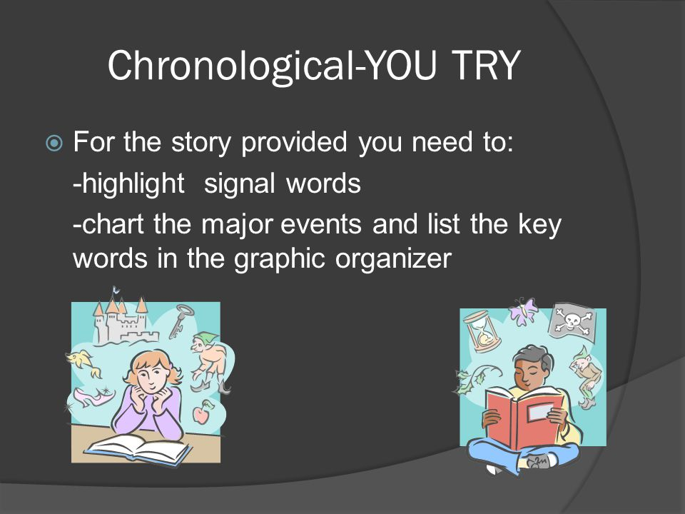 Chronological-YOU TRY  For the story provided you need to: -highlight signal words -chart the major events and list the key words in the graphic organizer