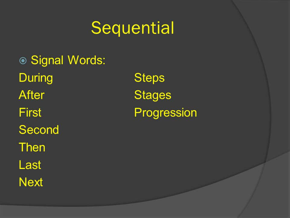 Sequential  Signal Words: During After First Second Then Last Next Steps Stages Progression