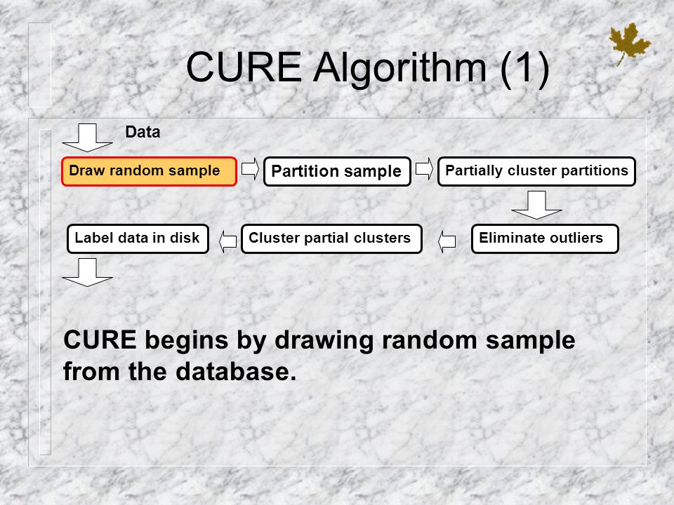 CURE Algorithm (1) Draw random sample Partition sample Partially cluster partitions Label data in diskCluster partial clustersEliminate outliers Data CURE begins by drawing random sample from the database.