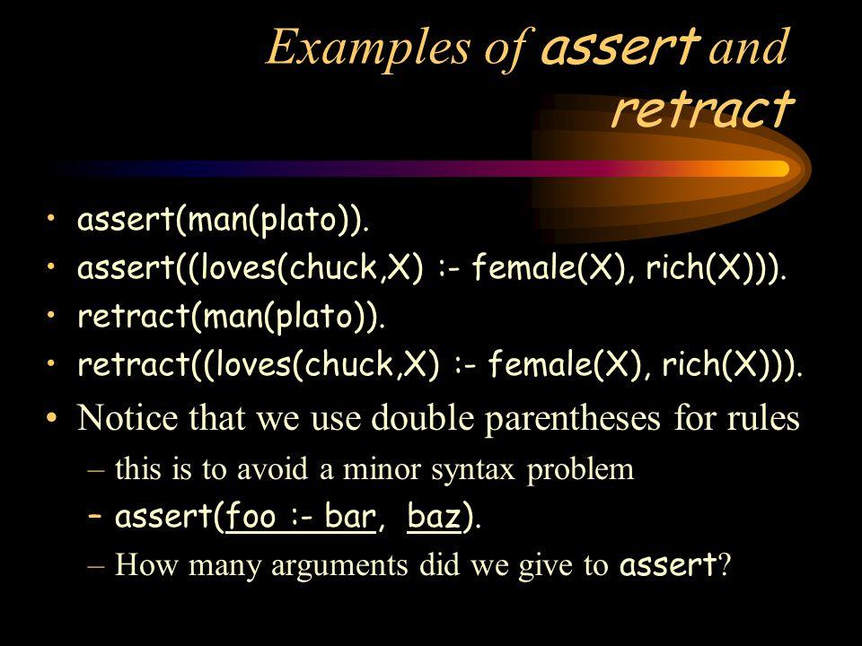 Examples of assert and retract assert(man(plato)).