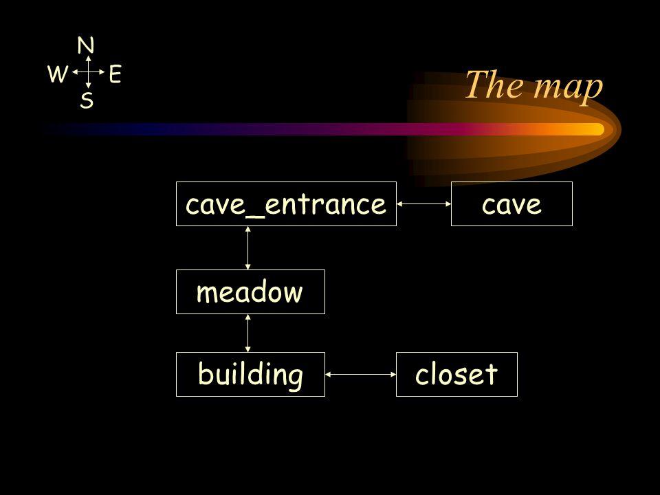 The map cave_entrancecave meadow buildingcloset N W E S