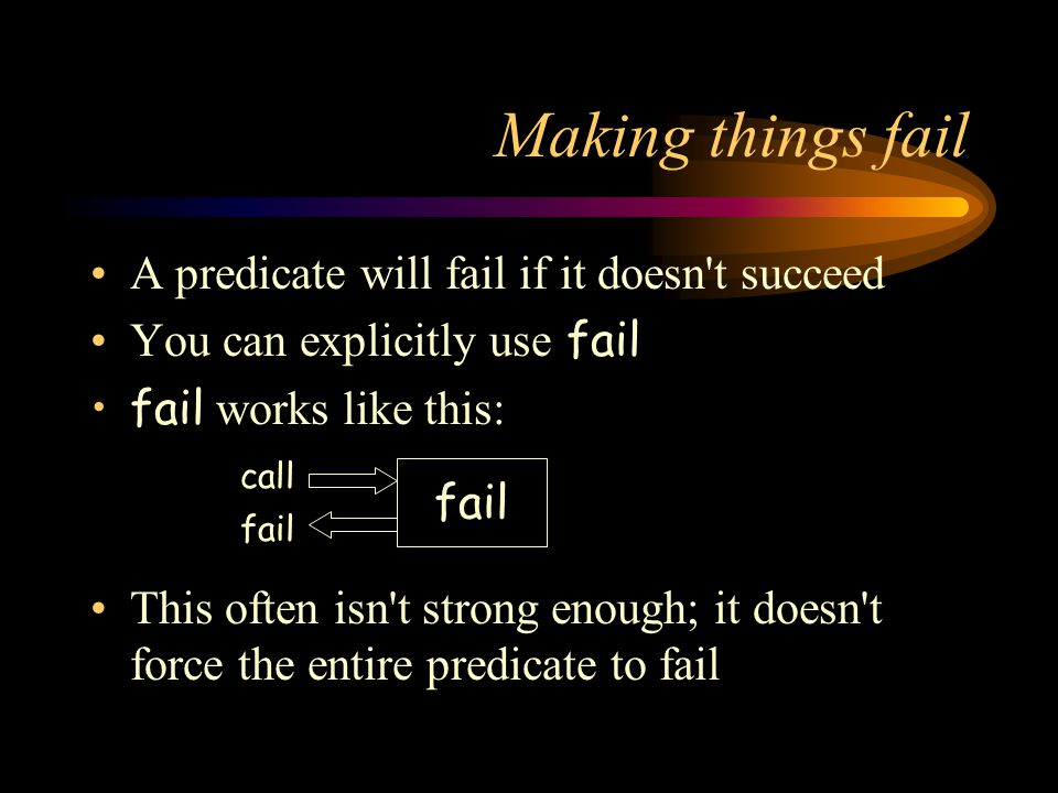 Making things fail A predicate will fail if it doesn t succeed You can explicitly use fail fail works like this: This often isn t strong enough; it doesn t force the entire predicate to fail fail call fail