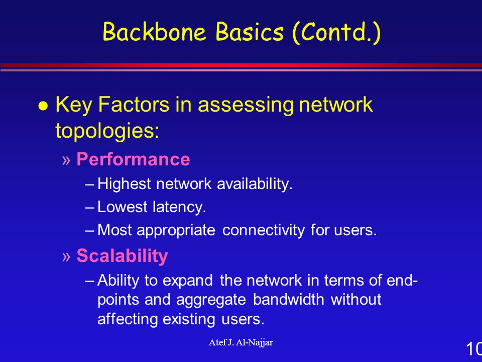 10 Atef J. Al-Najjar Backbone Basics (Contd.) l Key Factors in assessing network topologies: »Performance –Highest network availability. –Lowest laten