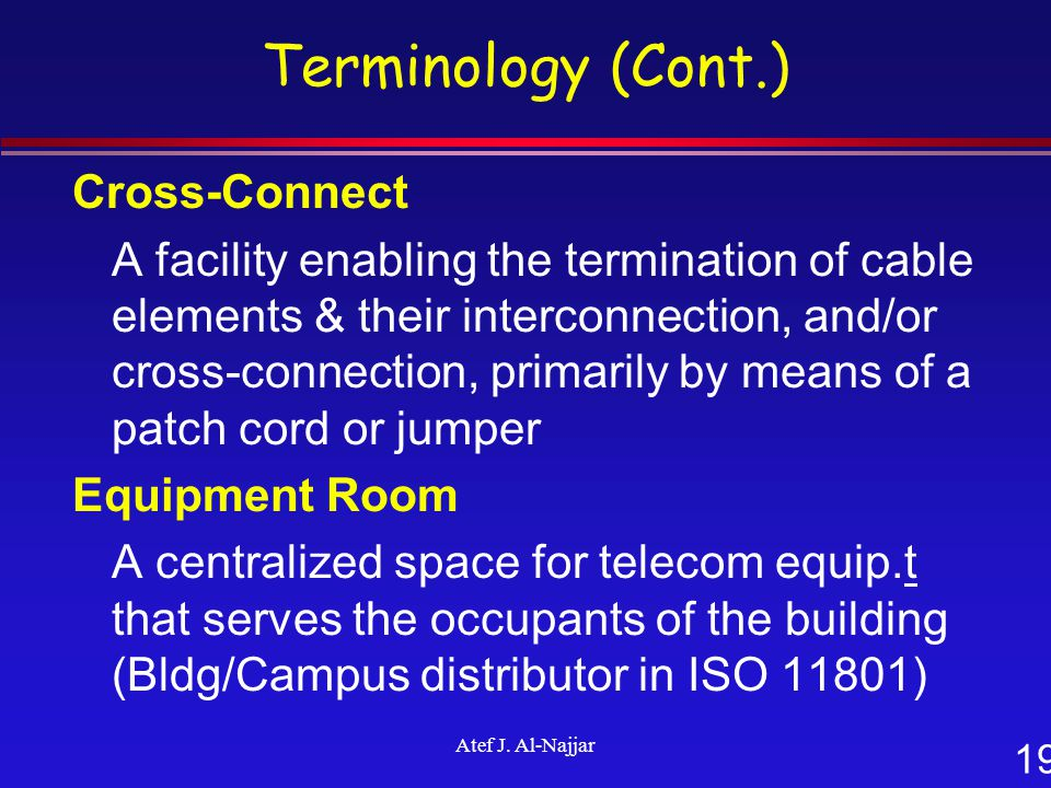 19 Atef J. Al-Najjar Terminology (Cont.) Cross-Connect A facility enabling the termination of cable elements & their interconnection, and/or cross-con