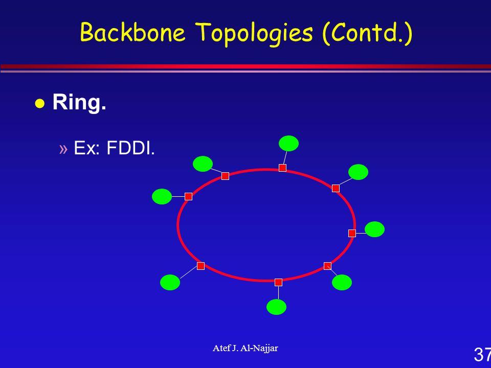 37 Atef J. Al-Najjar Backbone Topologies (Contd.) l Ring. »Ex: FDDI.