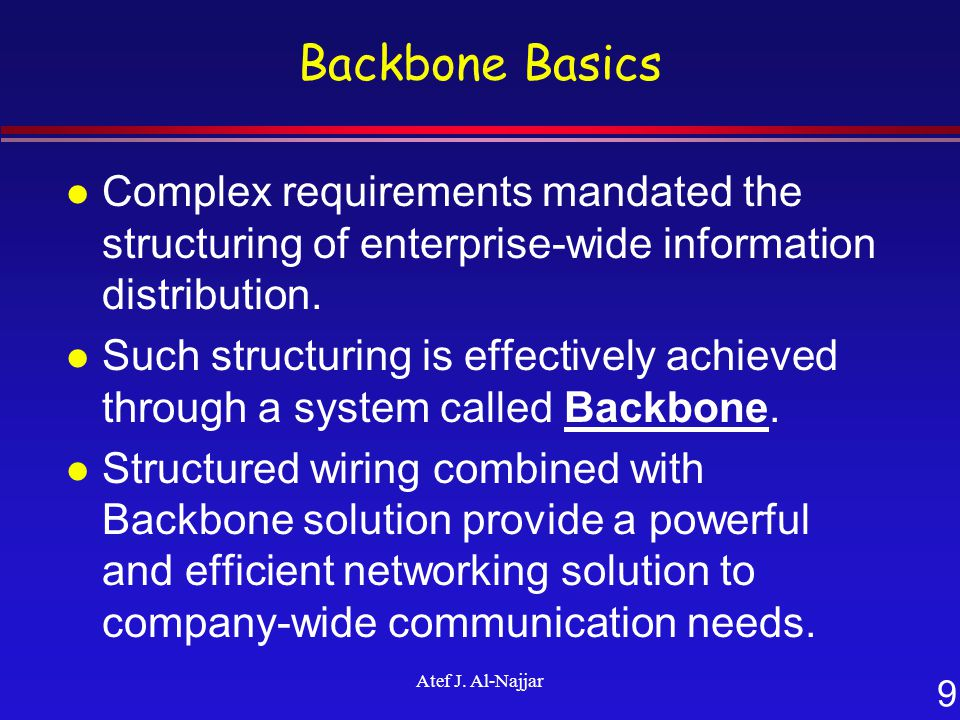 9 Atef J. Al-Najjar Backbone Basics l Complex requirements mandated the structuring of enterprise-wide information distribution. l Such structuring is