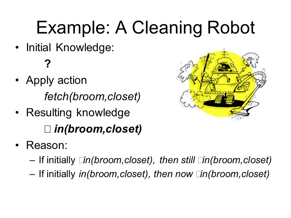 Example: A Cleaning Robot Initial Knowledge: ? Apply action fetch(broom,closet) Resulting knowledge  in(broom,closet) Reason: –If initially  in(bro