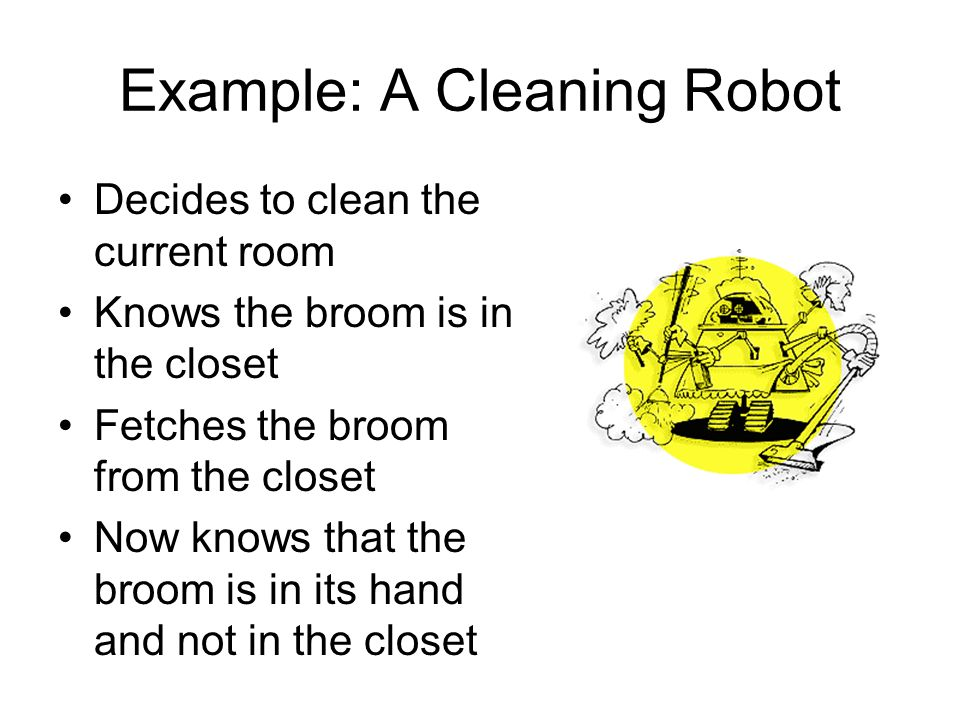 Example: A Cleaning Robot Decides to clean the current room Knows the broom is in the closet Fetches the broom from the closet Now knows that the broo