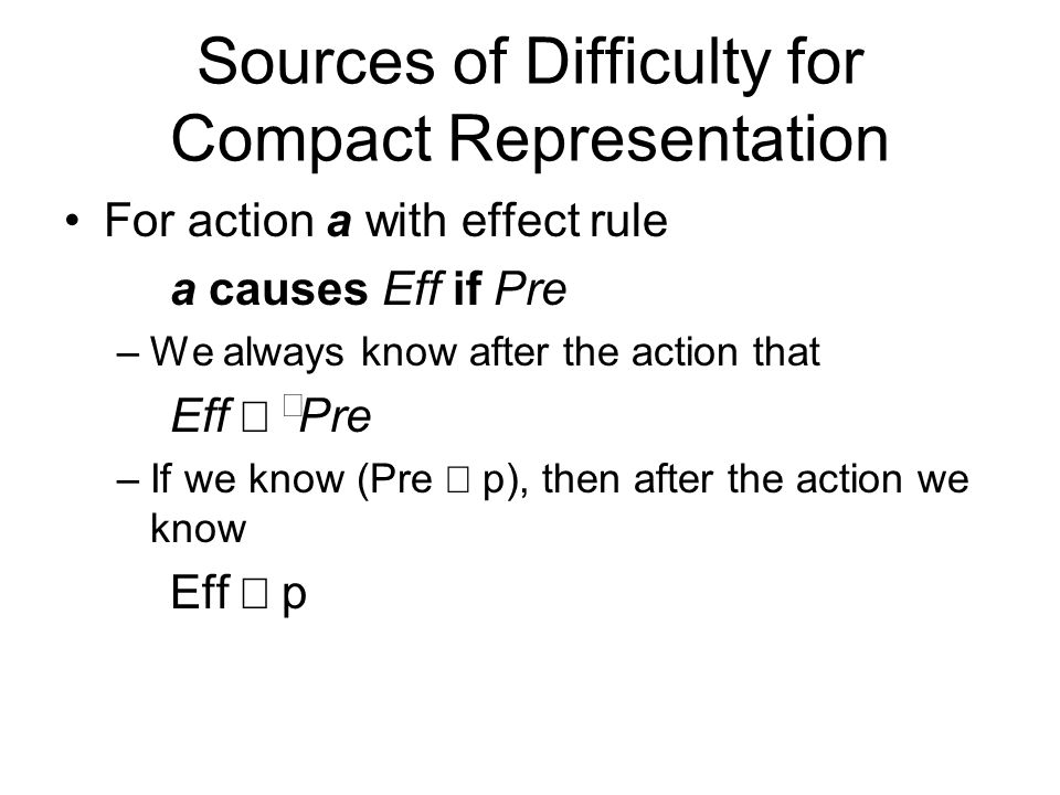 Sources of Difficulty for Compact Representation For action a with effect rule a causes Eff if Pre –We always know after the action that Eff   Pre –