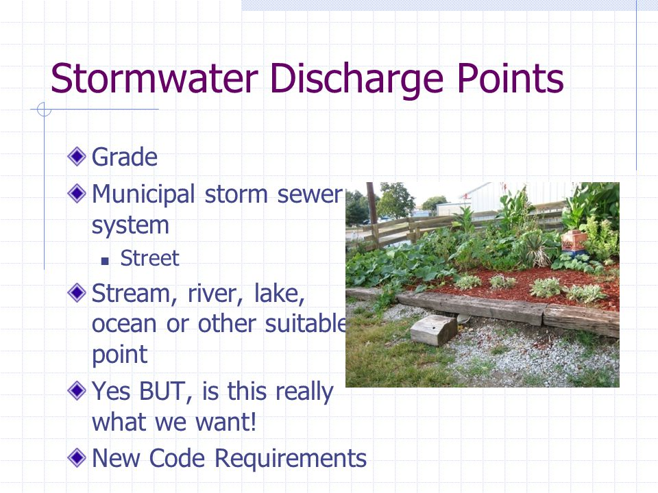 Stormwater Systems Roof drain systems Flat roofs Pitched roofs Site systems Q flow = Area (acres) x C R x I R = Ft 3 /Sec