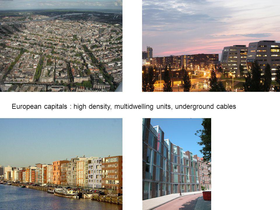 European capitals : high density, multidwelling units, underground cables