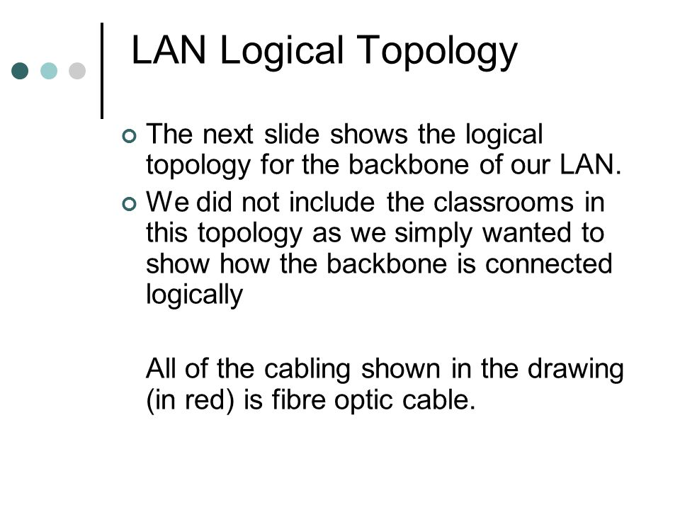 LAN Logical Topology The next slide shows the logical topology for the backbone of our LAN. We did not include the classrooms in this topology as we s