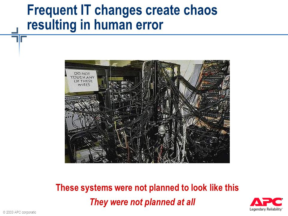 © 2003 APC corporation. Frequent IT changes create chaos resulting in human error They were not planned at all These systems were not planned to look