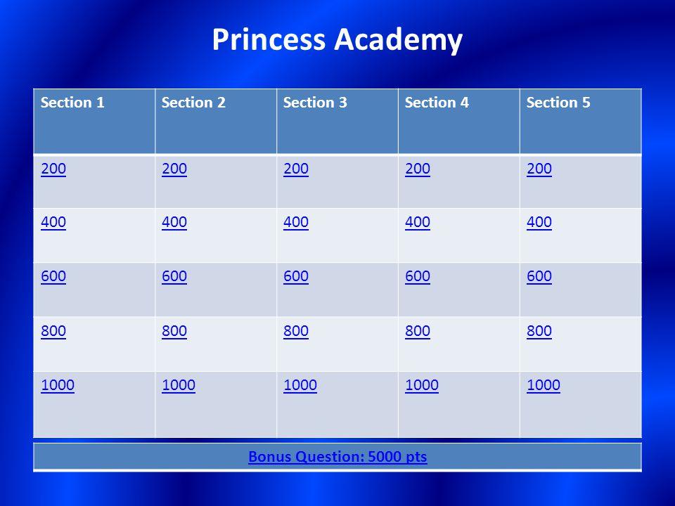Section 1Section 2Section 3Section 4Section 5 200 400 600 800 1000 Bonus Question: 5000 pts