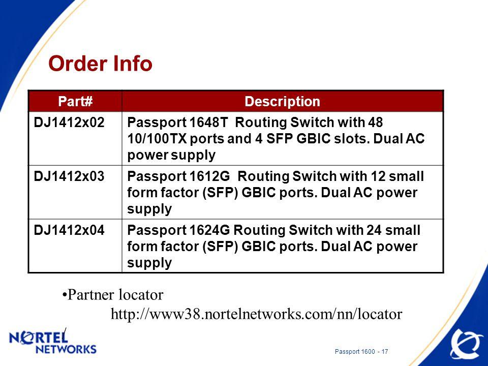 Passport 1600 - 17 Order Info Partner locator http://www38.nortelnetworks.com/nn/locator / Part#Description DJ1412x02Passport 1648T Routing Switch with 48 10/100TX ports and 4 SFP GBIC slots.