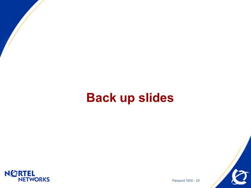 Passport 1600 - 20 Back up slides
