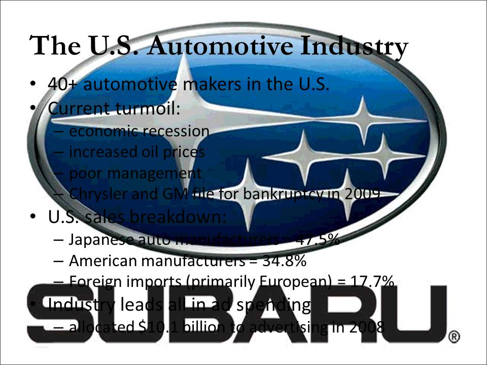 Questions 4)What other niche markets can Subaru pursue that would not alienate its current consumer base.