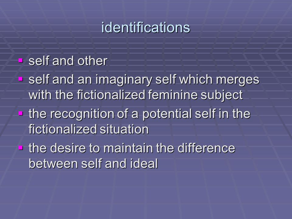 identification/recognition  Identification can only be made through recognition, and all recognition is itself an implicit confirmation of an existing form.