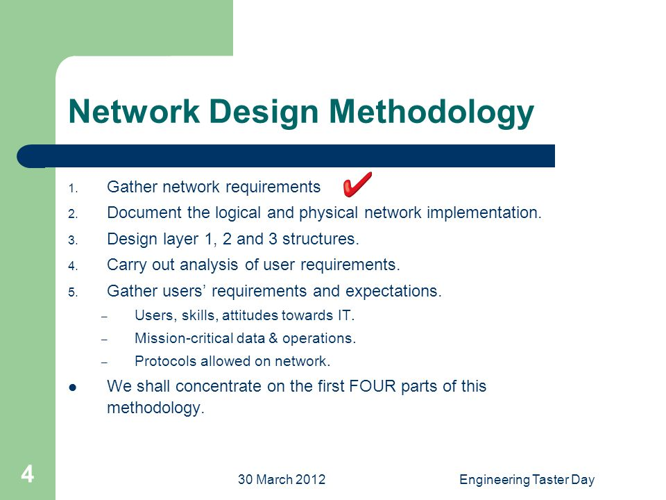 30 March 2012Engineering Taster Day 4 Network Design Methodology 1.