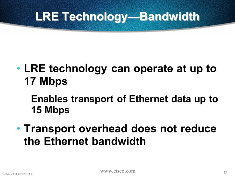 13 © 2000, Cisco Systems, Inc. 13 LRE Technology—Bandwidth LRE technology can operate at up to 17 Mbps Enables transport of Ethernet data up to 15 Mbp