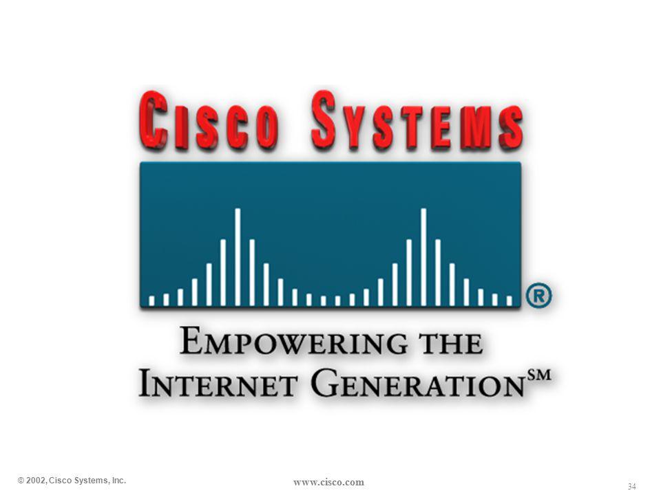34 © 2002, Cisco Systems, Inc. www.cisco.com